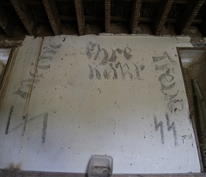 The chateau was used in WW@ by the Germans and here in Quentins tool shed was graffiti to prove it