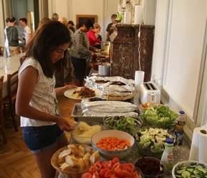 Hannah at the evening communal buffet which everyone helped prepare