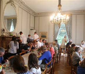Buffet in the dining room at Chateau de Perron