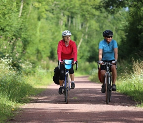 Catherine and Vanessa on cycle path to Coutances