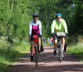 Geoff and Nicola on cycle path to Coutances