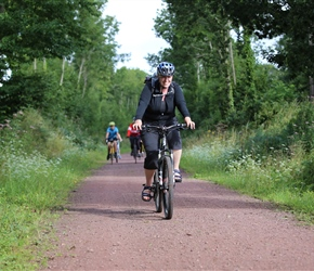 Wendy Walker on cycle path to Coutances