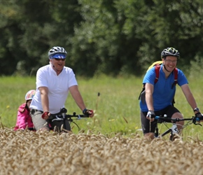 Mark and Ian on cycle route to Regneville sur Mer