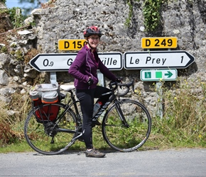 Sarah harvey on the cycle route to Regneville sur Mer