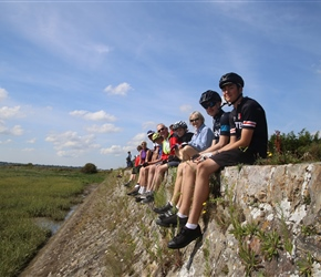 Matthew, Christopher et al lined along the sea wall