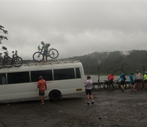 Unloading bikes at Arenal Lake