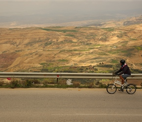 Yvette heads along the escarpment close to Mount Nebo