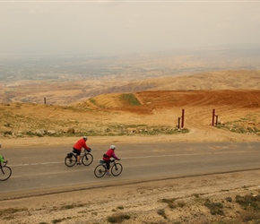 Mount Nebo marked the start of a long descent to the Dead Sea, Tim, Laurinda and Mel descend