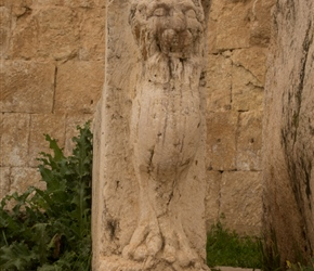 Carved lion in what was thought to be the 'accountants' area