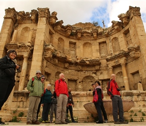 By the Nymphaeum. The main ornamental fountain in Jerash dedicated to the Nymphs