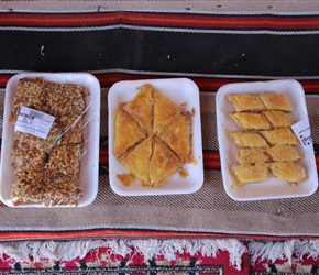 Baclava bought and consumed at the coffee stop. Widely available and good value at about £1 a tray