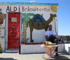 Mahmoud our guide relaxes at the coffee stop