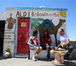 Yvetteand Mahmoud chat to the barista/owner. Looking a bit like Jack Sparrow, I was assured that we'd see more dressed like this closer to Petra