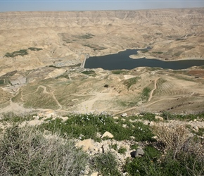 Half way up the climb, a view over Wadi Mujib dam and reservoir