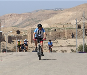 John at the top of a short steep climb at the start of the ride out of Kerak