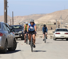 Dianne at the top of a short steep climb at the start of the ride out of Kerak