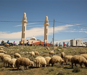 When the group regroup under a minaret and a sheep herd are in front then it makes a good picture