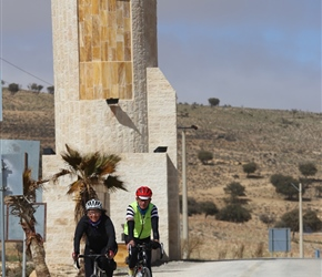 These columns either side of the Kings Highway marked the top of the climb. Martyn and Dianne arrives