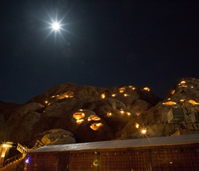 Full Moon over Little Petra Bedouin Camp. Looks lovely but we couldn't see the stars