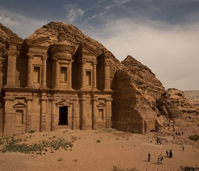 "It takes 800 steps to reach the Monestary. The name ""Monastery"" is again a misnomer, probably suggested by some crosses scratched inside; this was almost certainly a temple, possibly dedicated to the Nabatean king Obodas I, who reigned in the first c"