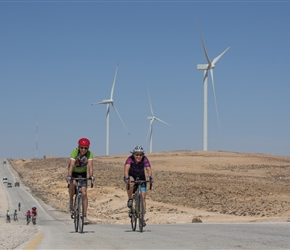 Martin and Dianne pass windmills