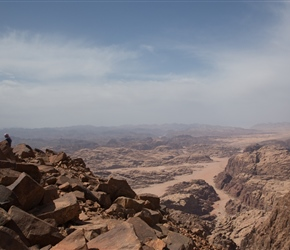 Looking east from Um Addami mountain. Jebel Um Adam, at 1,854 m (6,083 ft.) is the highest mountain in Jordan