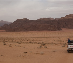 It took 90 minutes to get from the mountain back to camp, speeding along desert tracks in the back of a  4x4