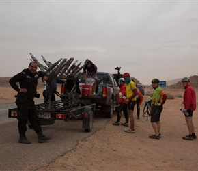 Ready to leave. We managed 5km before the police pulled us off the road and we transferred to Aqaba