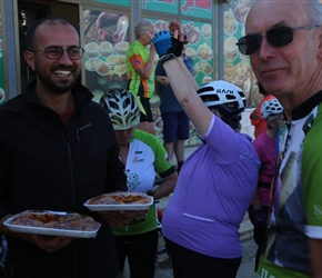 Lunchstop on the Kings Road, Mahmoud holds the baclava