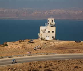 On the climb we pass an army observation point, Israel is the other side of the Dead Sea