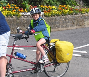 Becky Clayton on the Kiddiback Tandem