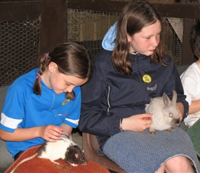 Flora and Sarah check out the rats and rabbits