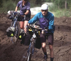 Colin and Linda on a muddy section from Geilo