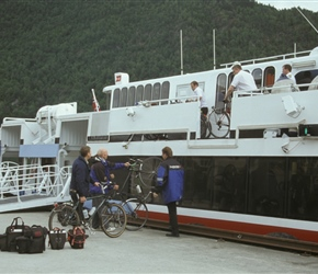 Loading bikes onto the express ferry at Balestrand