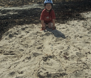 James makes a sandcastle airport