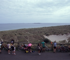 Locking bikes ready to visit Bamburgh Castle