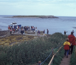 Descending to take the boat to the Farne Islands