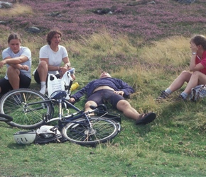dave flat out at Ros Castle, apparently he'd had a couple f beers at lunchtime before hoofing up the hill!