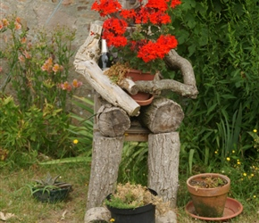 Roadside flowerpot man
