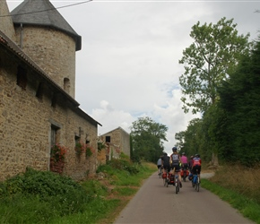 Passing the farm with a tower