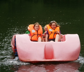 Louise and Poppy on Pedalos at Mont Castre