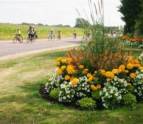 Roadside floral displays on entering Linverville