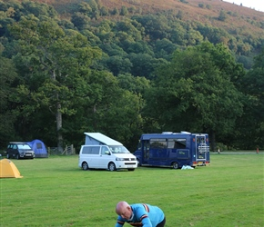 Simon cooks dinner at the campsite in the Elan Valley. Quite an achievement on an MSR and primus gas fire