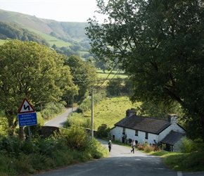 At the end of a very long descent on the road to Llanbrynmair. After a short climb, look back