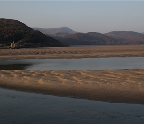 Afon Mawddach estuary from the railway bridge crossing it at Barmouth