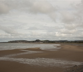 The route loops inland approaching Conwy. Here views of Deganwy across the emptying of the River Conwy into the sea