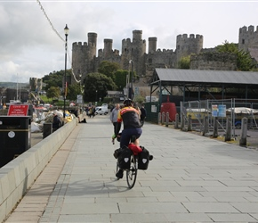Will heads towards Conwy Castle. This point before crossing the bridge next to the castle is full of places to eat and provides access to the town